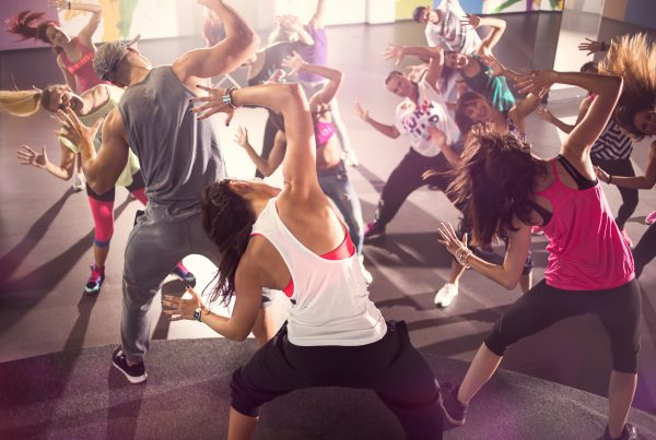 group of dancer at Zumba fitness training in studio at Living Well Fitness in Northern Kentucky